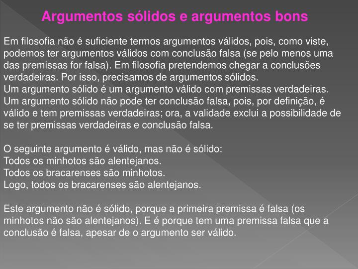 Argumentos sólidos e argumentos bons