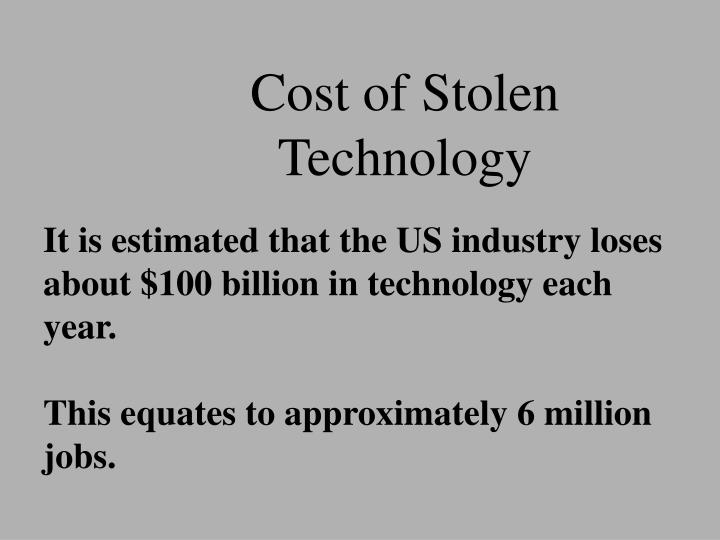 Cost of Stolen Technology