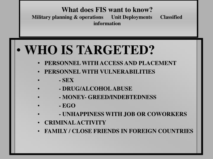 What does FIS want to know?