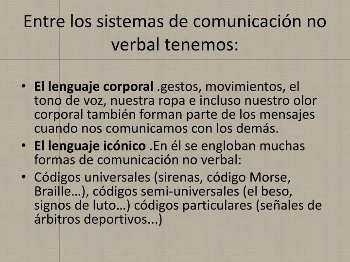 Entre los sistemas de comunicación no verbal tenemos: