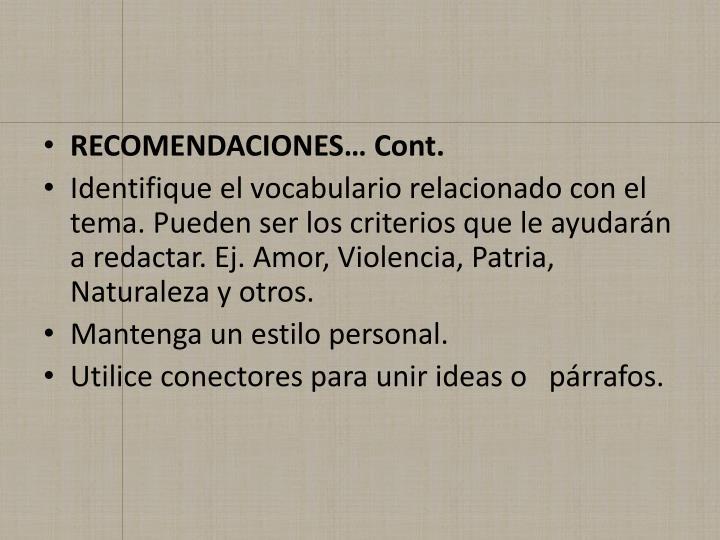 RECOMENDACIONES… Cont.