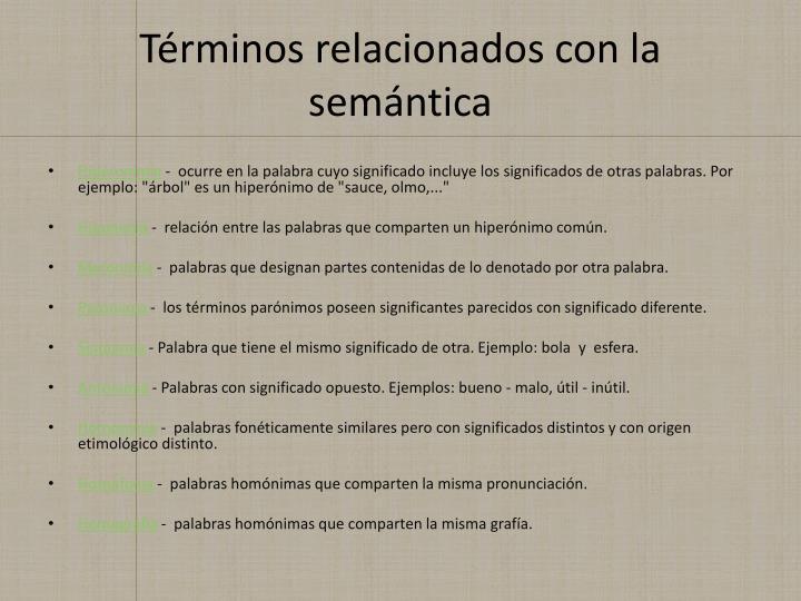 Términos relacionados con la semántica
