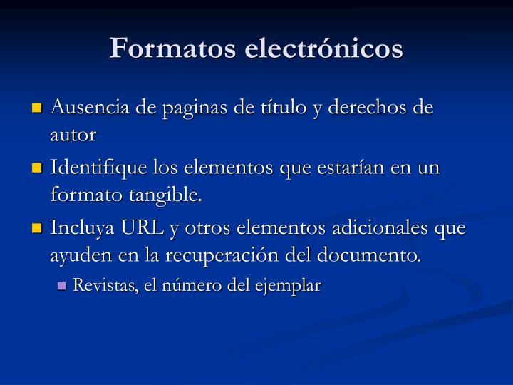 Formatos electrónicos