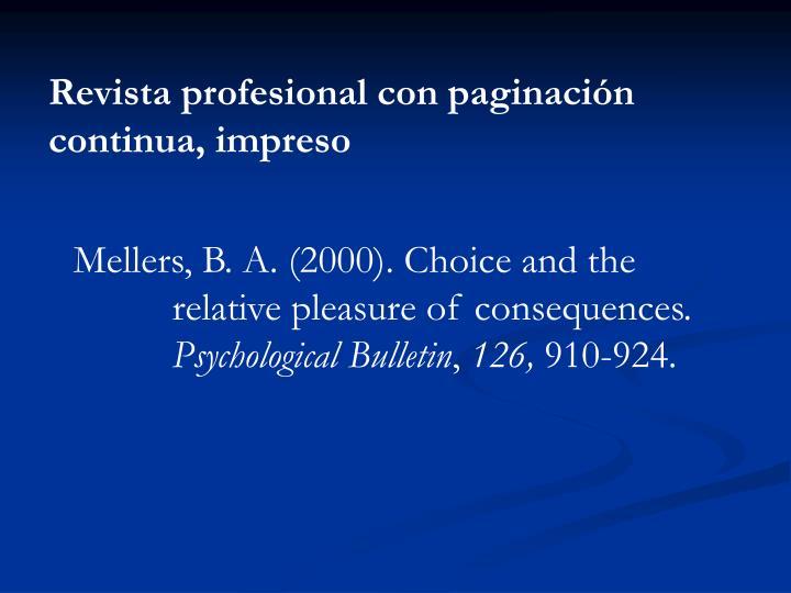 Revista profesional con paginación continua, impreso