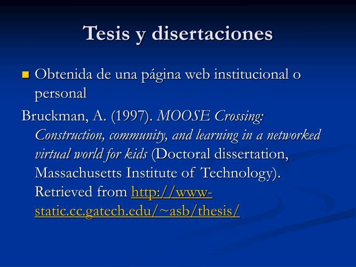 Tesis y disertaciones