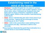 establishing need in the mind of the learner