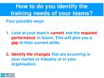 how to do you identify the training needs of your teams