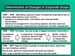 determinants of changes i n corporate scope