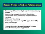 recent trends in vertical relationships