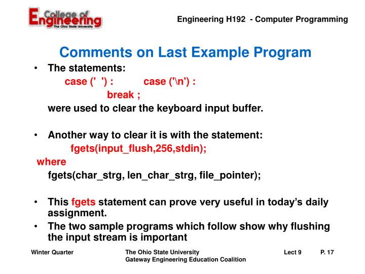 Comments on Last Example Program