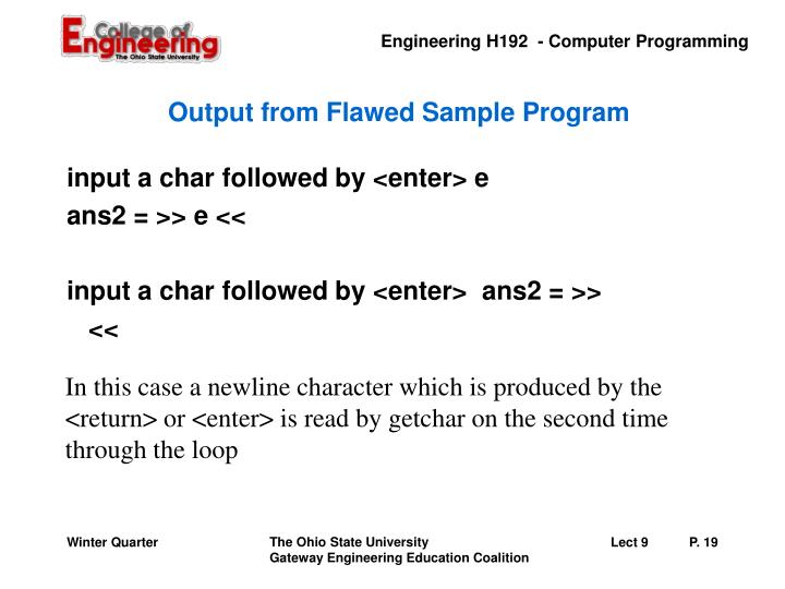 Output from Flawed Sample Program