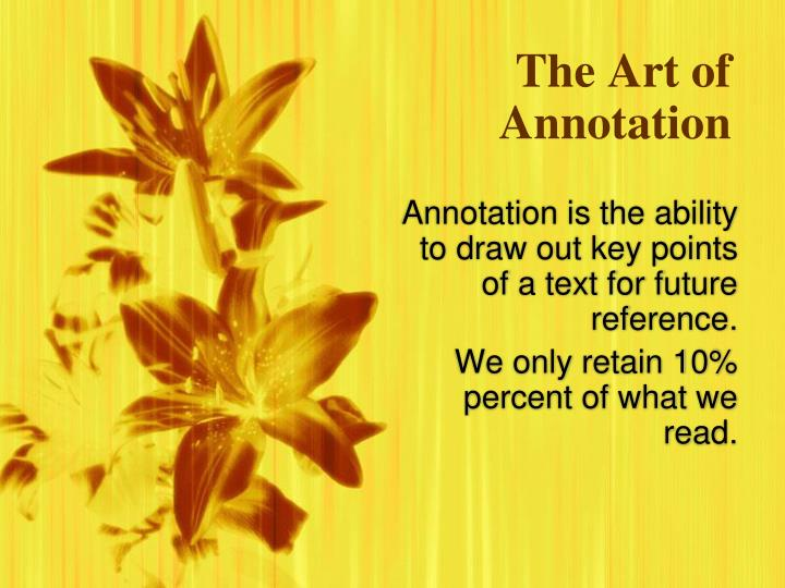 the art of annotation