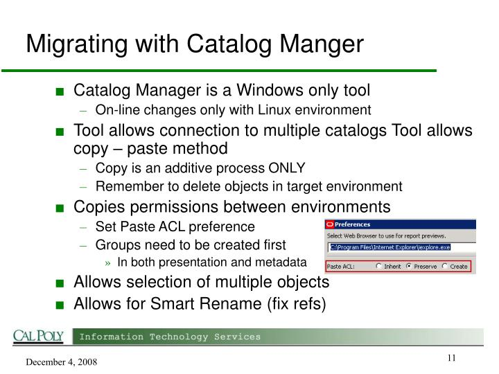 Migrating with Catalog Manger
