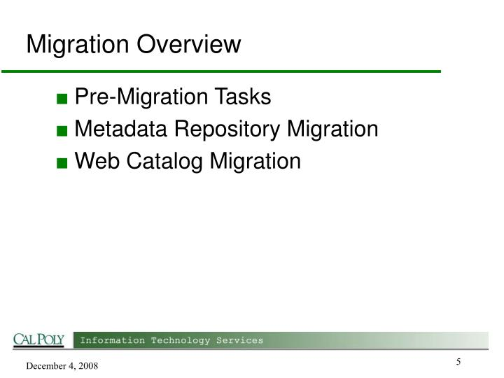 Migration Overview