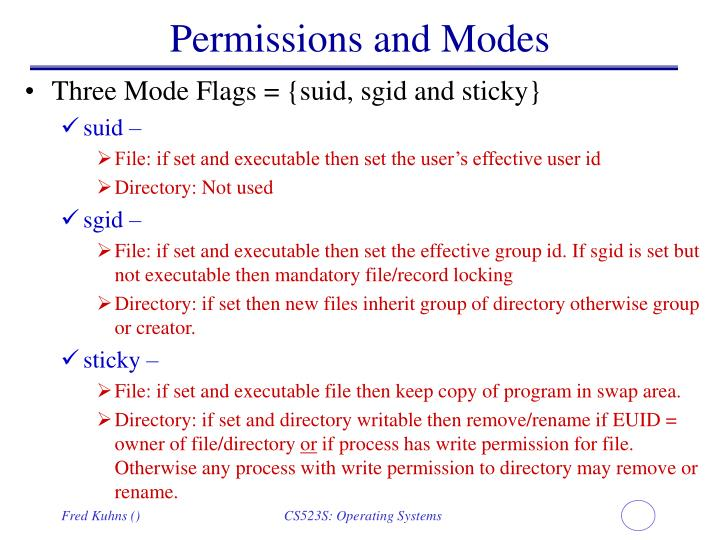 Permissions and Modes