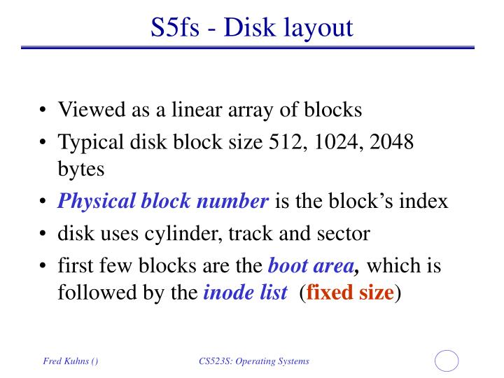 S5fs - Disk layout
