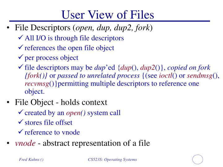 User View of Files