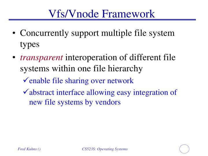 Vfs/Vnode Framework
