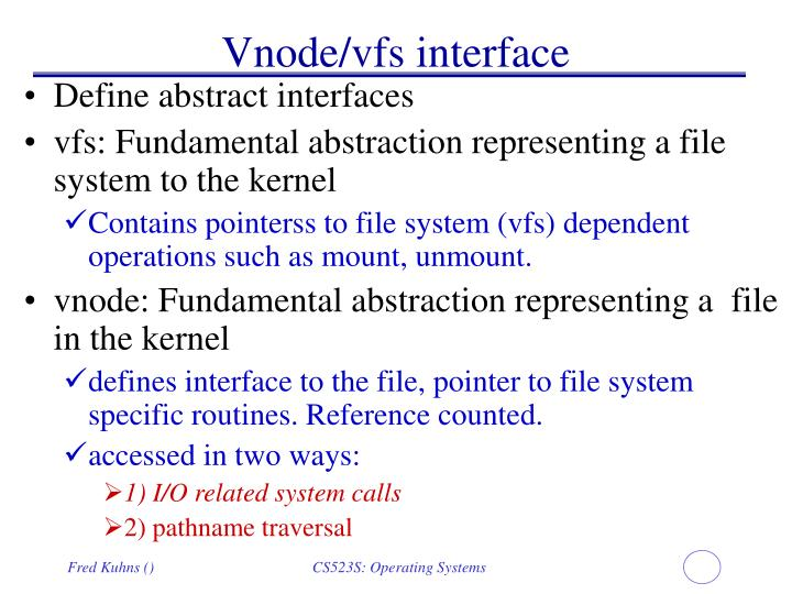 Vnode/vfs interface