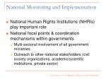 national monitoring and implementation
