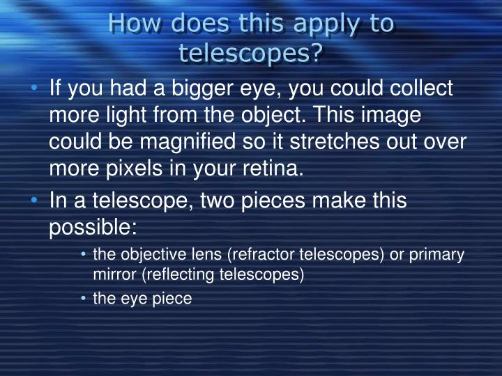 How does this apply to telescopes?
