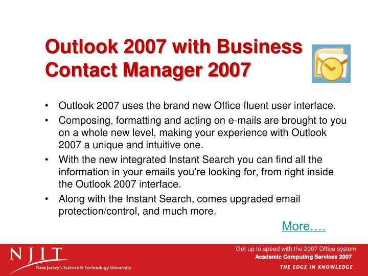 Outlook 2007 with Business Contact Manager 2007