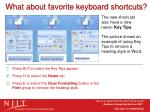 what about favorite keyboard shortcuts1