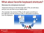 what about favorite keyboard shortcuts2