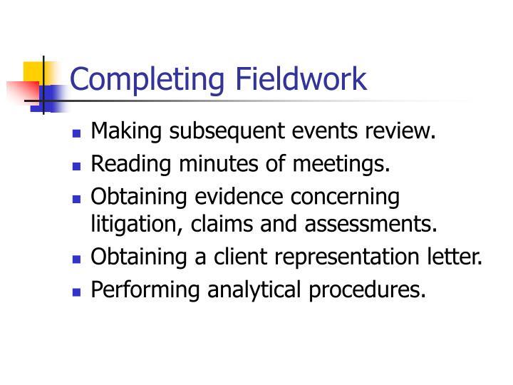Completing Fieldwork