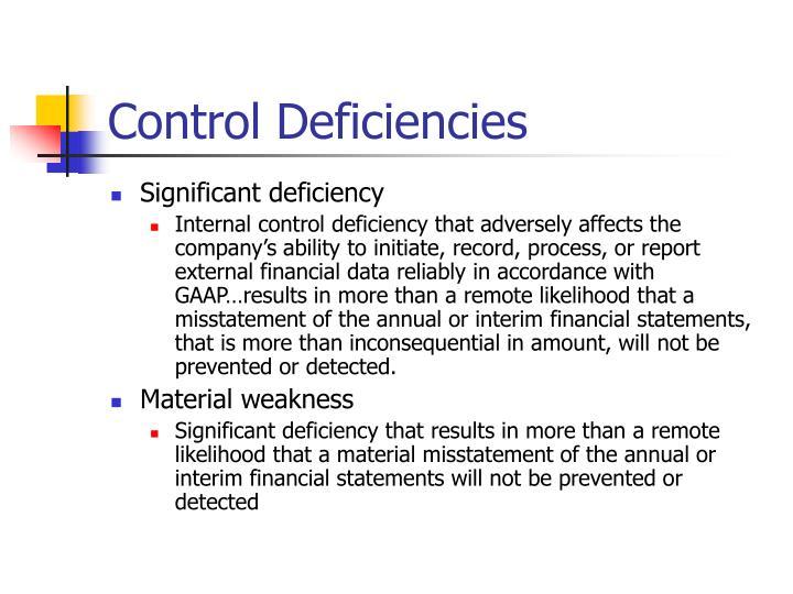 Control Deficiencies