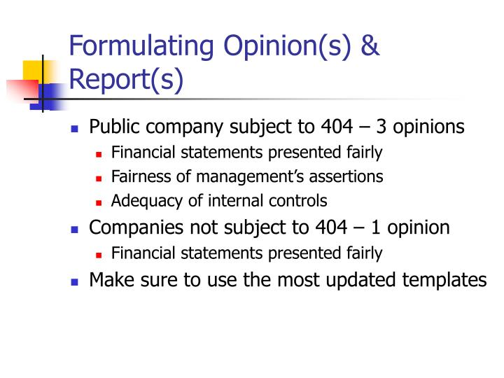 Formulating Opinion(s) & Report(s)