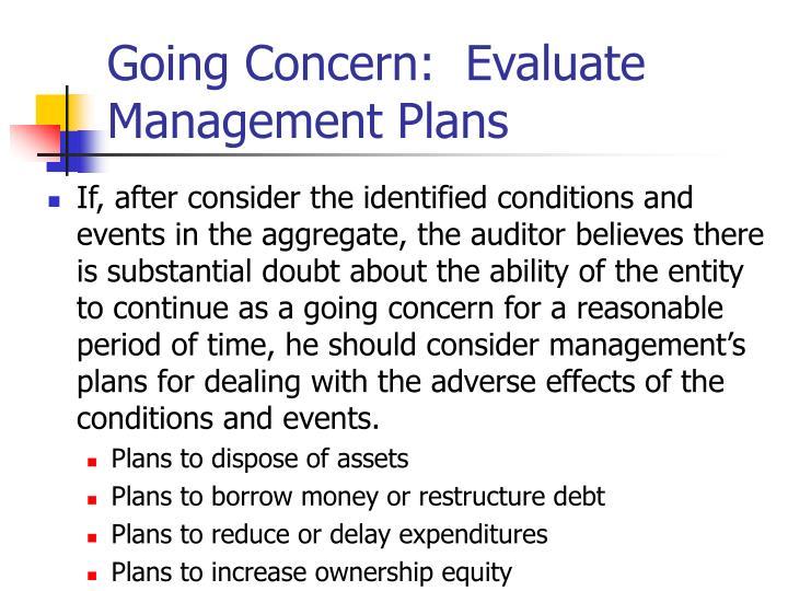 Going Concern:  Evaluate Management Plans