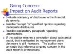 going concern impact on audit reports