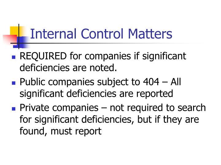 Internal Control Matters