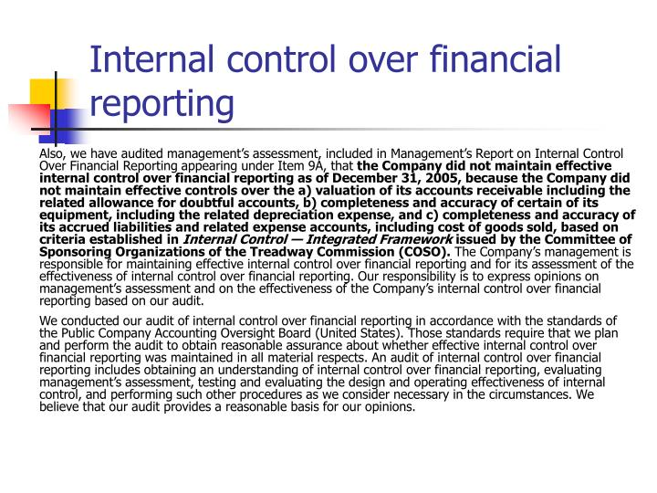 Internal control over financial reporting