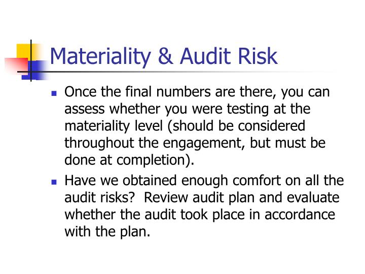 Materiality & Audit Risk