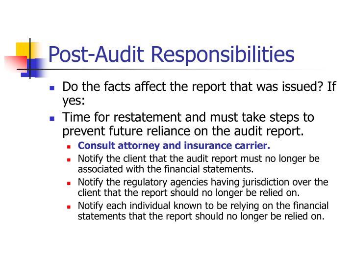 Post-Audit Responsibilities