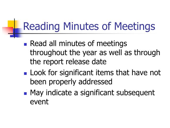 Reading Minutes of Meetings