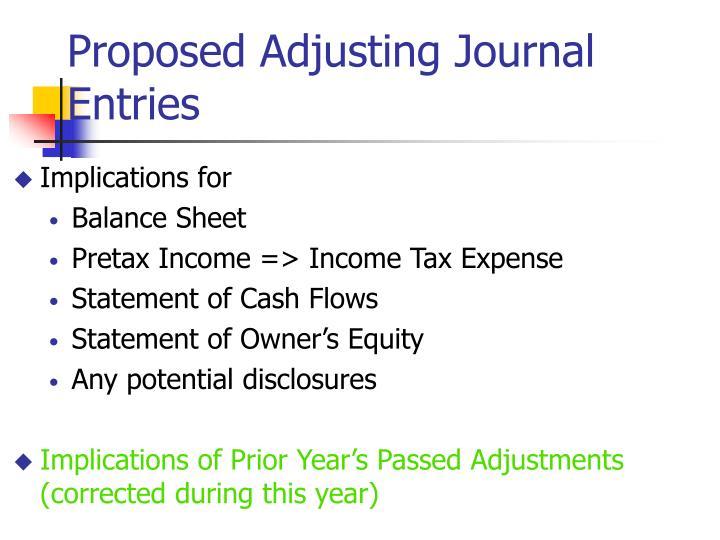 Proposed Adjusting Journal Entries