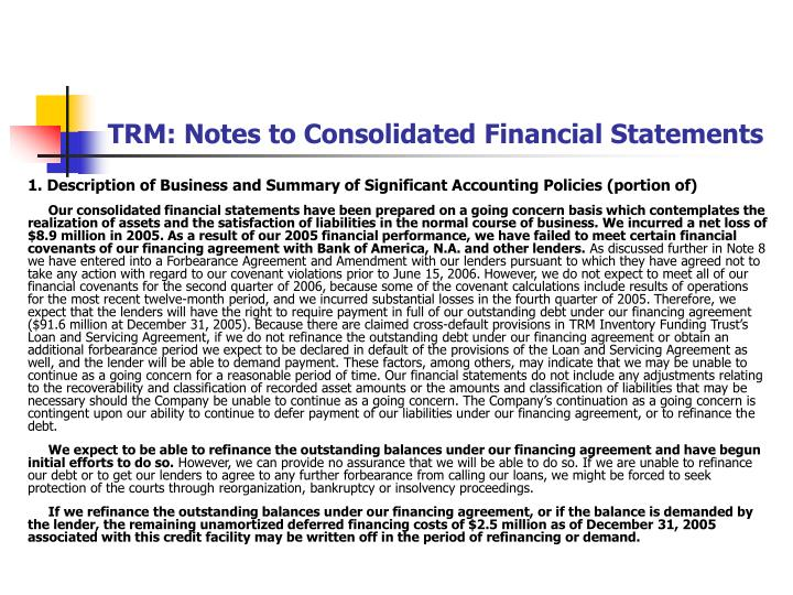 TRM: Notes to Consolidated Financial Statements