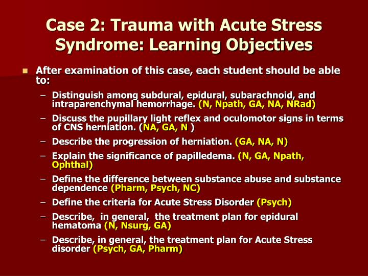 Case 2: Trauma with Acute Stress Syndrome: Learning Objectives