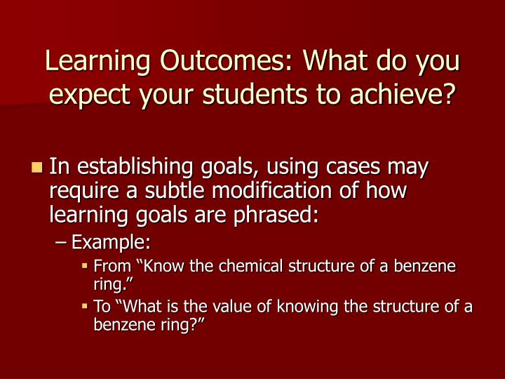Learning Outcomes: What do you expect your students to achieve?