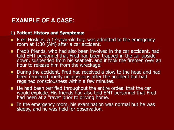 EXAMPLE OF A CASE: