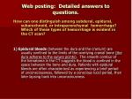web posting detailed answers to questions
