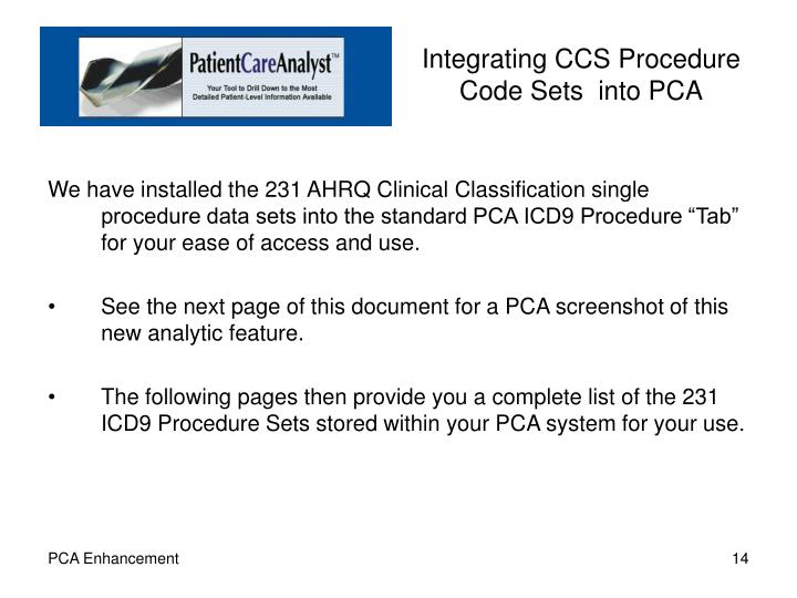Integrating CCS Procedure Code Sets  into PCA