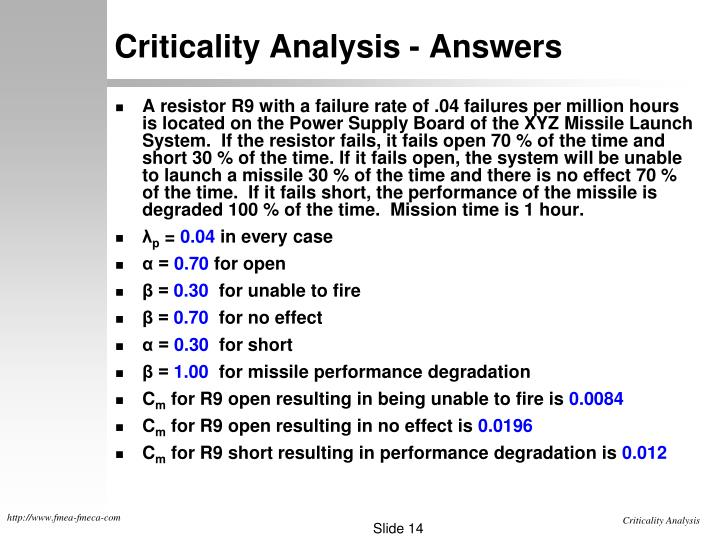 Criticality Analysis - Answers