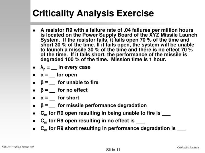 Criticality Analysis Exercise