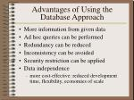 advantages of using the database approach