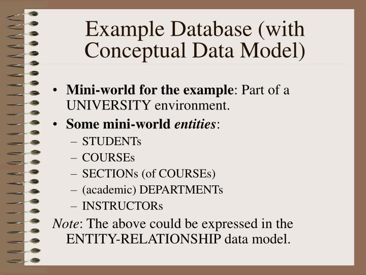 Example Database (with Conceptual Data Model)