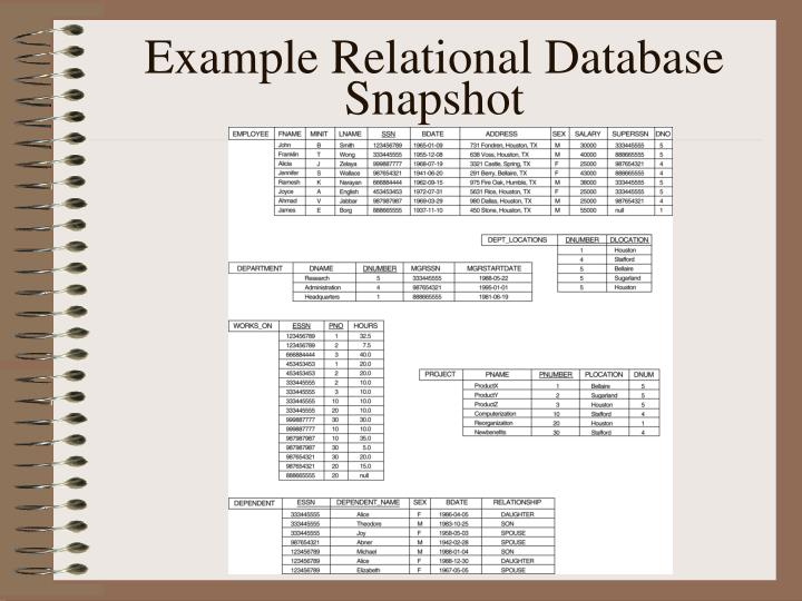 Example Relational Database Snapshot